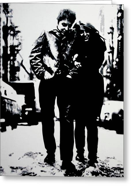 Civil Rights Paintings Greeting Cards - Freewheelin Greeting Card by Luis Ludzska