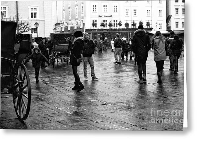 Art In Salzburg Greeting Cards - Freeze Frame in Salzburg Greeting Card by John Rizzuto