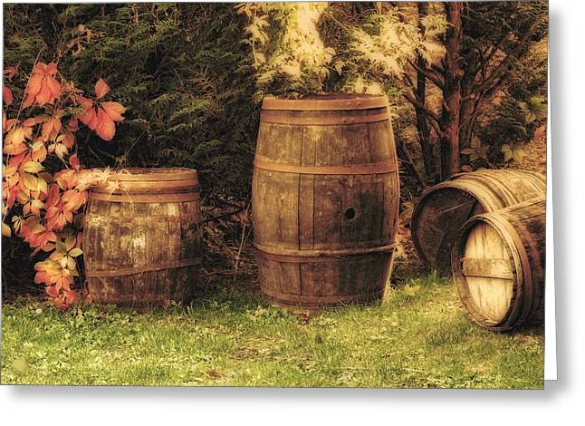 Wine Scene Greeting Cards - French Wine Barrels 3 Greeting Card by Greg Matchick