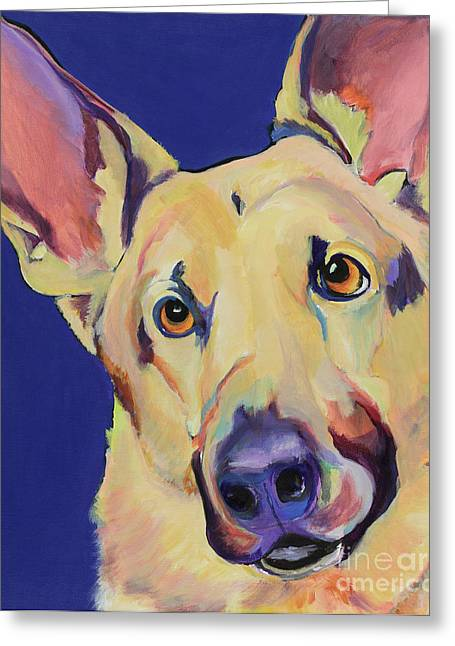 Working Dogs Paintings Greeting Cards - Freida Greeting Card by Pat Saunders-White