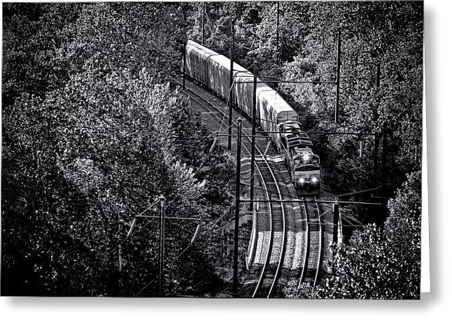 Freighting Away Greeting Card by Olivier Le Queinec