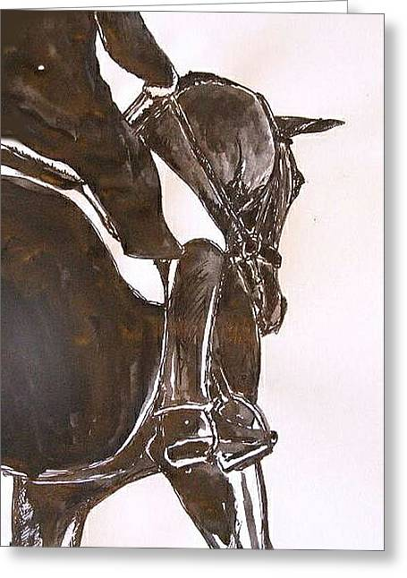 Dressage Drawings Greeting Cards - Fremantle  Greeting Card by Adrian McMillan