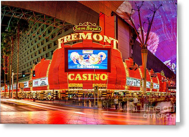 The Strip Greeting Cards - Fremont Casino Greeting Card by Az Jackson