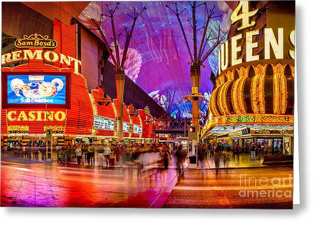 Dancing Greeting Cards - Fremont Street Casinos Greeting Card by Az Jackson