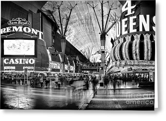 Hallways Greeting Cards - Fremont Street Casinos BW Greeting Card by Az Jackson