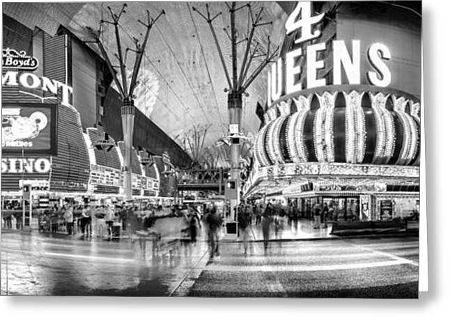 Hallways Greeting Cards - Fremont Street Experience BW Greeting Card by Az Jackson