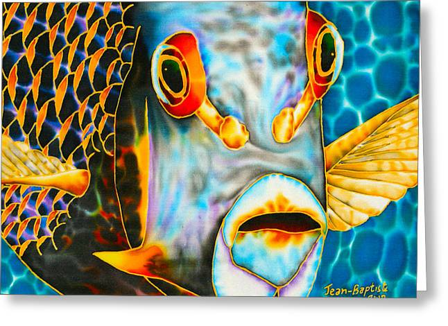 Marine Fish Tapestries - Textiles Greeting Cards - French Angelfish Face Greeting Card by Daniel Jean-Baptiste
