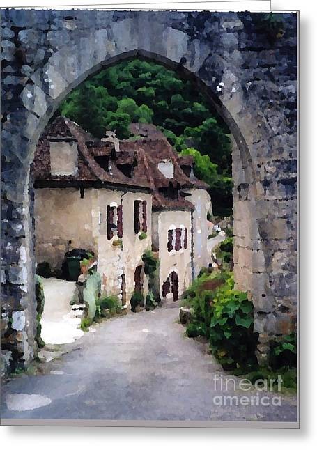 Old Roadway Greeting Cards - French Arch Greeting Card by Josephine Benevento-Johnston
