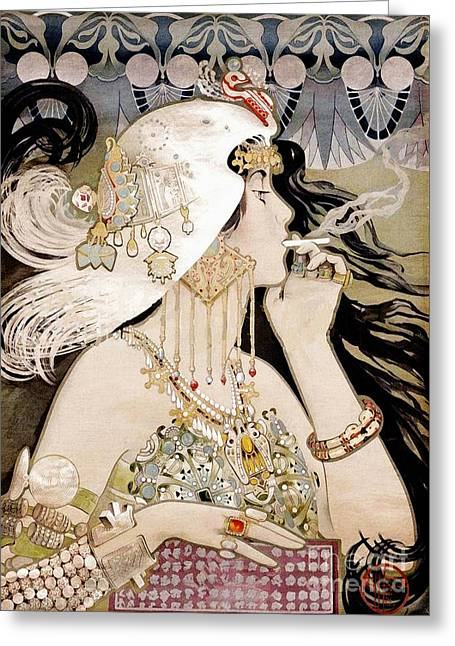 French Art Nouveau Smoking Woman Collage Greeting Card by Tina Lavoie