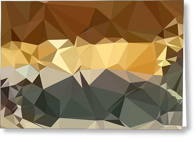 Polygon Greeting Cards - French Beige Abstract Low Polygon Background Greeting Card by Aloysius Patrimonio