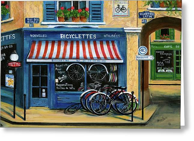 Boutique Art Greeting Cards - French Bicycle Shop Greeting Card by Marilyn Dunlap