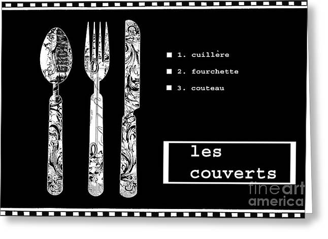 Les Mixed Media Greeting Cards - Black and White Kitchen Typography Art Greeting Card by Anahi DeCanio - ArtyZen Studios