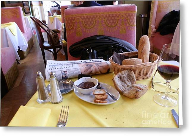 Table Wine Greeting Cards - French bread and wine Greeting Card by Margaret Brooks