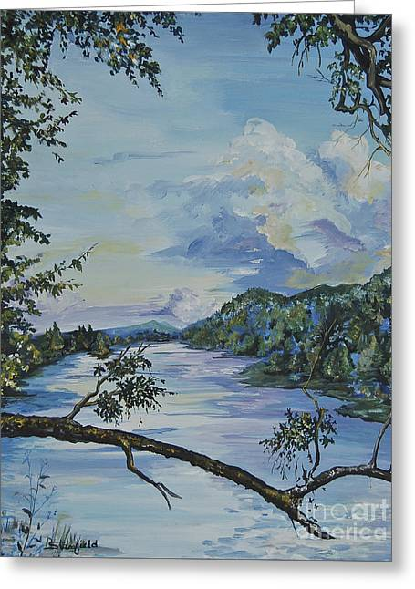 Smokey Mountains Paintings Greeting Cards - French Broad at Biltmore Estates NC Greeting Card by Johnnie Stanfield