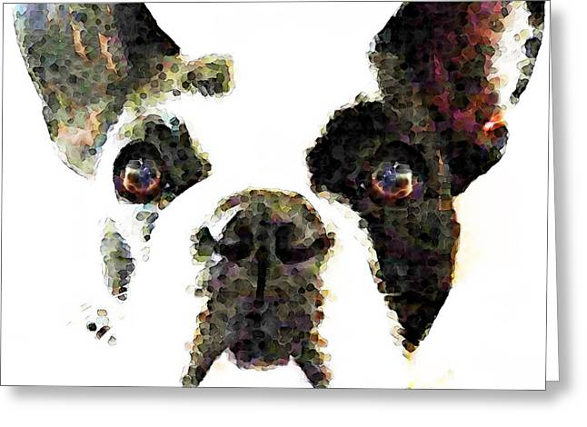Doggie Greeting Cards - French Bulldog Art - High Contrast Greeting Card by Sharon Cummings