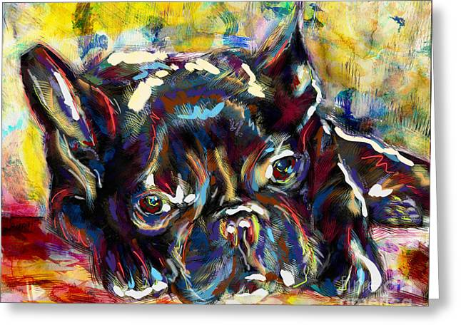 Bulldog Prints Greeting Cards - French Bulldog Art  Greeting Card by Ryan RockChromatic