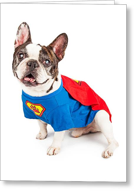 French Bulldog Dog In Super Hero Costume Greeting Card by Susan Schmitz