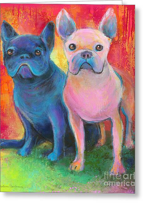 Puppies Mixed Media Greeting Cards - French Bulldog dogs white and black painting Greeting Card by Svetlana Novikova