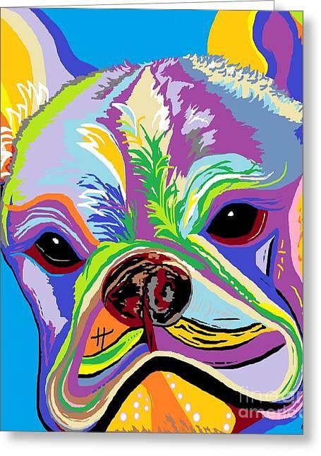 Recently Sold -  - Modern Digital Art Digital Art Greeting Cards - French Bulldog Greeting Card by Eloise Schneider