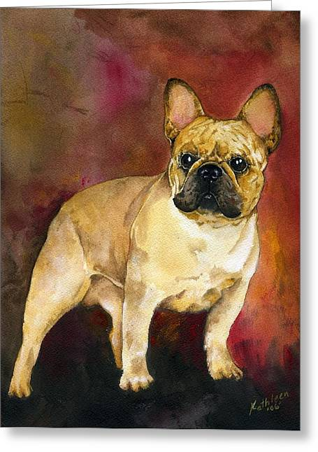Bully Paintings Greeting Cards - French Bulldog Greeting Card by Kathleen Sepulveda