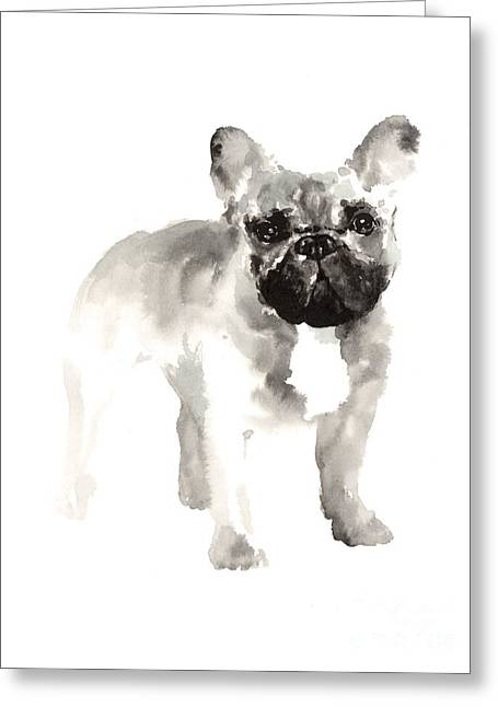 French Bulldog Minimalist Watercolor Painting Greeting Card by Joanna Szmerdt