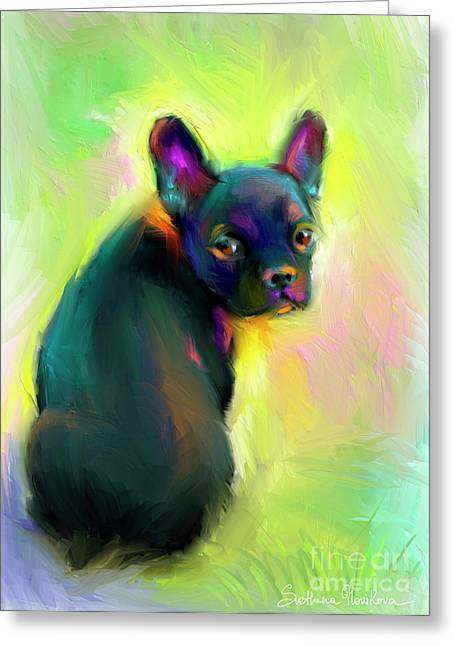 Bulldog Pet Portraits Greeting Cards - French Bulldog painting 4 Greeting Card by Svetlana Novikova