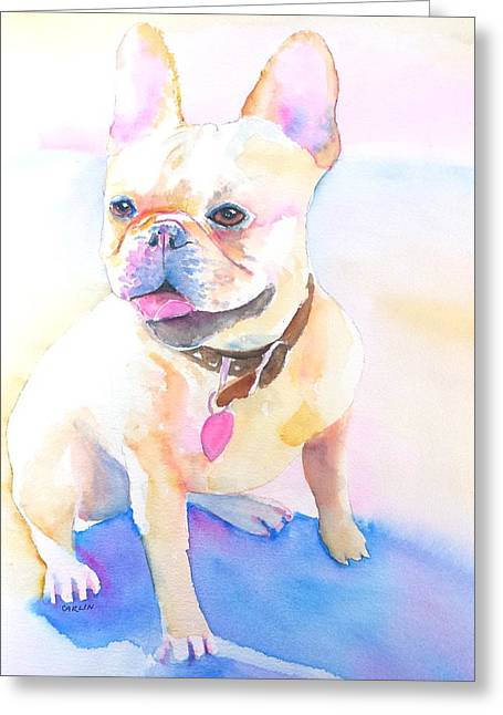Cute Frenchie Art Greeting Cards - French Bulldog Watercolor Greeting Card by Carlin Blahnik