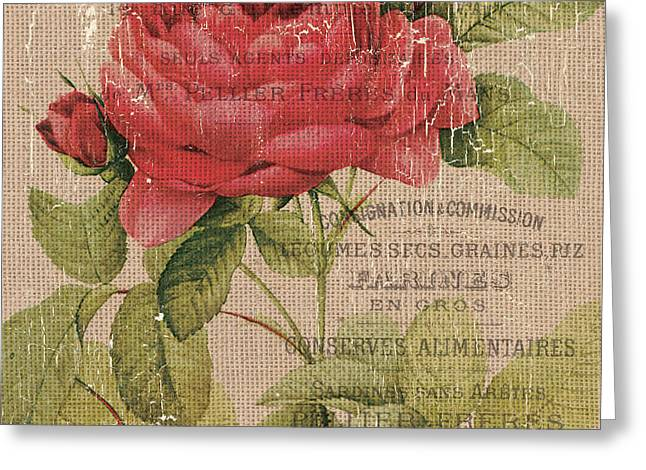 French Burlap Floral 1 Greeting Card by Debbie DeWitt