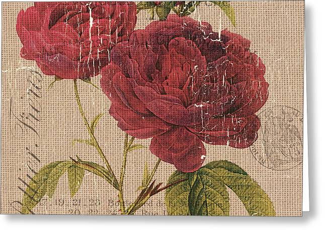 French Burlap Floral 3 Greeting Card by Debbie DeWitt