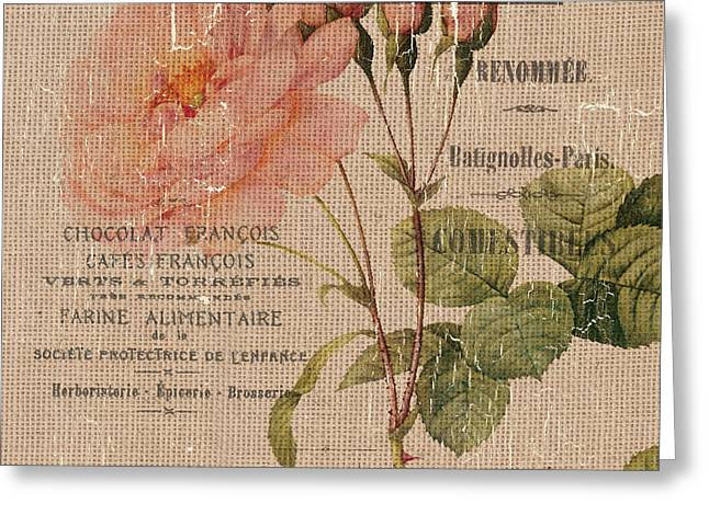 French Burlap Floral 4 Greeting Card by Debbie DeWitt