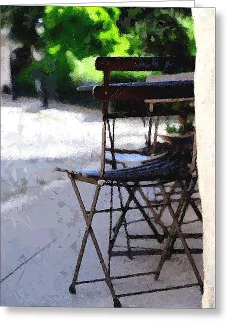 Table Wine Greeting Cards - French Cafe Greeting Card by David Ridley
