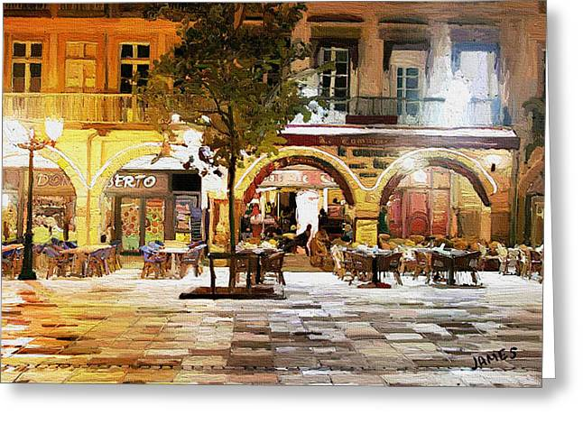 Night Cafe Greeting Cards - French cafe Greeting Card by James Shepherd