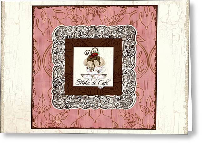 Europe Mixed Media Greeting Cards - French Cafe Mocha - Moka de Cafe Greeting Card by Audrey Jeanne Roberts