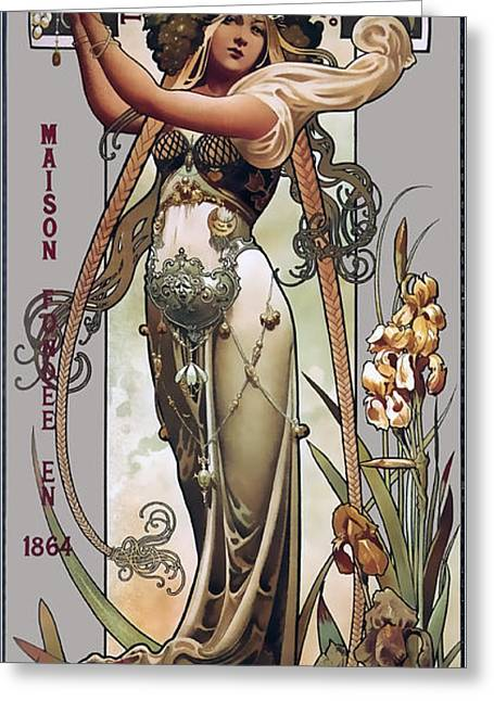 French Champagne 1864 Greeting Card by Daniel Hagerman