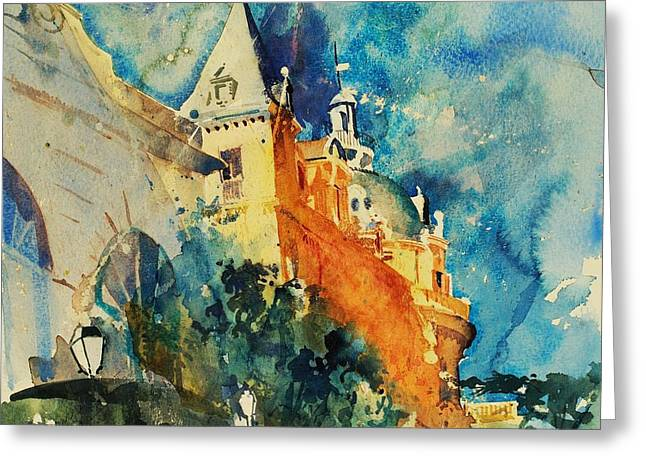 Ambition Paintings Greeting Cards - French Chateau Greeting Card by Simon Fletcher