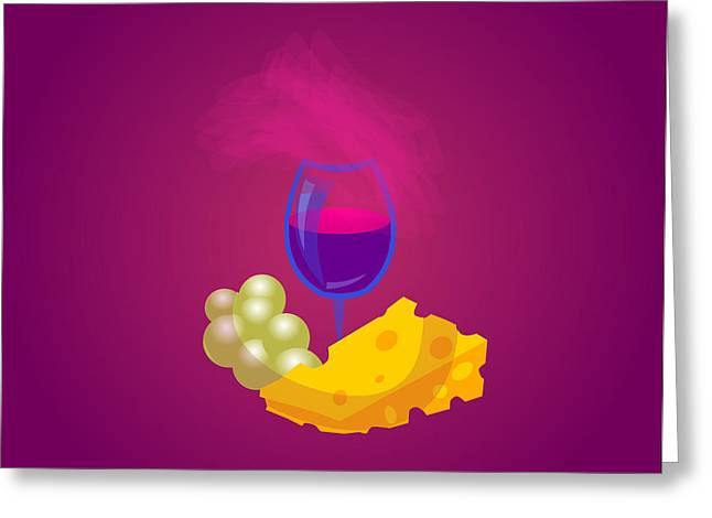 Italian Meal Drawings Greeting Cards - French Cheese And Glass Of Wine Greeting Card by Dragana  Gajic