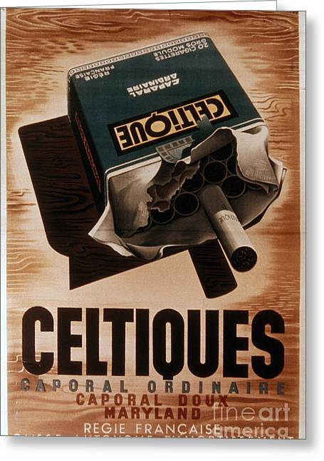 Smoker Greeting Cards - French Cigarette Ad, 1934 Greeting Card by Granger