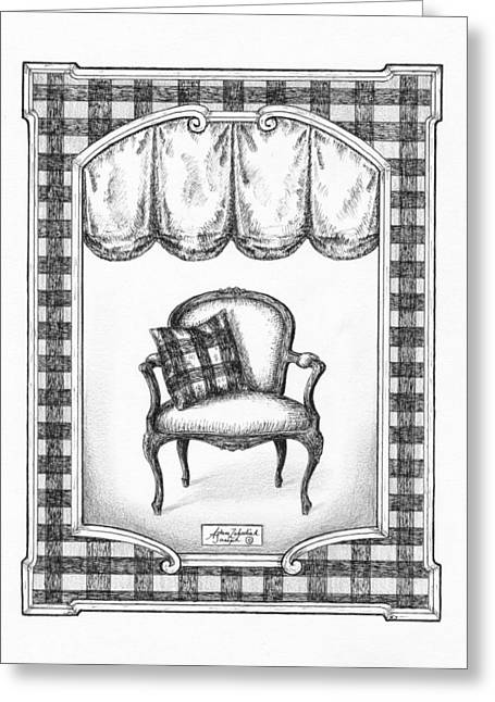 Pen And Paper Greeting Cards - French Country Fauteuil Greeting Card by Adam Zebediah Joseph
