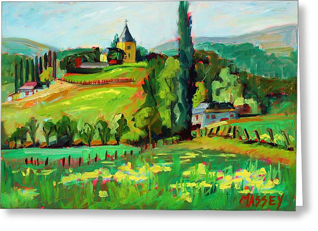 French Countryside Greeting Cards - French Country plein air Greeting Card by Marie Massey