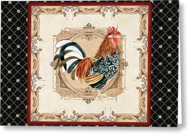 Labelled Greeting Cards - French Country Roosters Quartet Black 1 Greeting Card by Audrey Jeanne Roberts