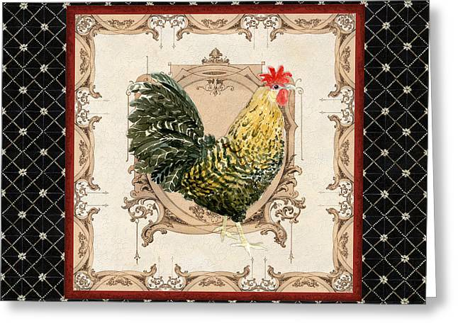 Etch Greeting Cards - French Country Roosters Quartet Black 3 Greeting Card by Audrey Jeanne Roberts
