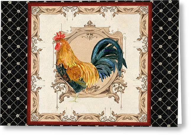 Labelled Mixed Media Greeting Cards - French Country Roosters Quartet 4 Greeting Card by Audrey Jeanne Roberts