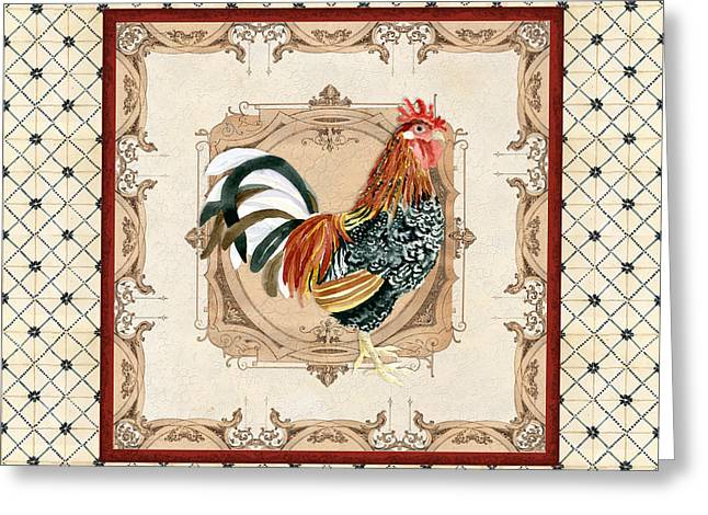Labelled Mixed Media Greeting Cards - French Country Roosters Quartet Cream 1 Greeting Card by Audrey Jeanne Roberts