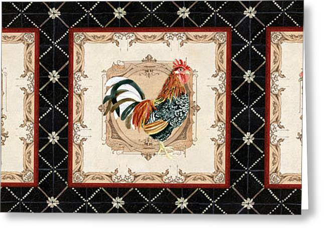 French Country Vintage Style Roosters - Triplet Greeting Card by Audrey Jeanne Roberts