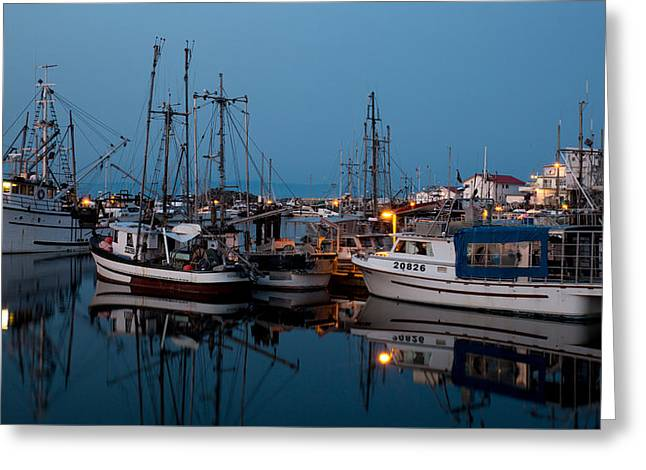 Fishing Boat Reflection Greeting Cards - French Creek Blue Greeting Card by Randy Hall