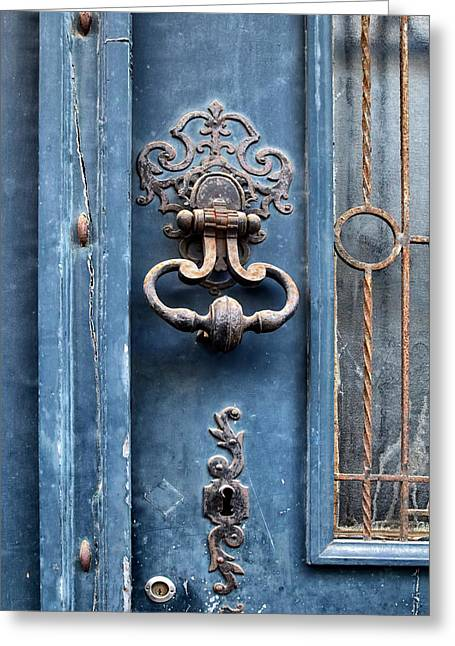 France Doors Greeting Cards - French Door Detail Greeting Card by Georgia Fowler