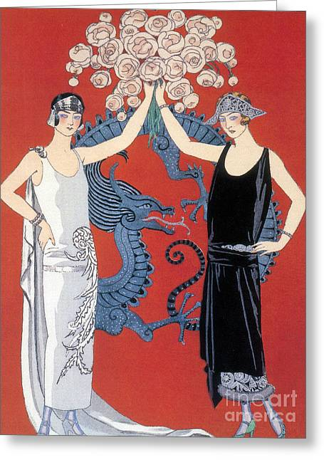 Apparel Greeting Cards - French Fashion, George Barbier, 1924 Greeting Card by Science Source