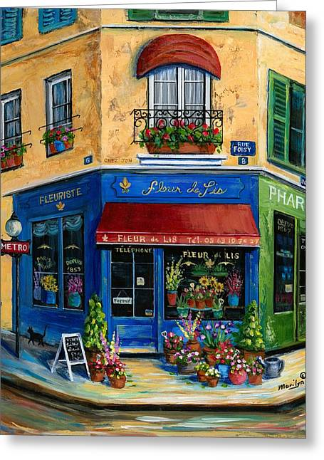 Boutique Art Greeting Cards - French Flower Shop Greeting Card by Marilyn Dunlap