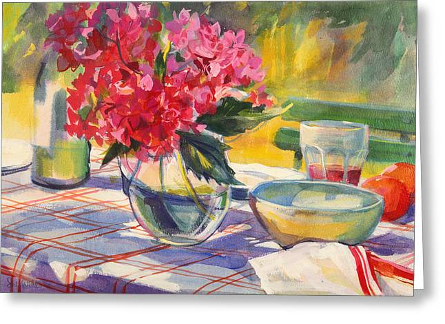 French Garden Table Greeting Card by Sue Wales