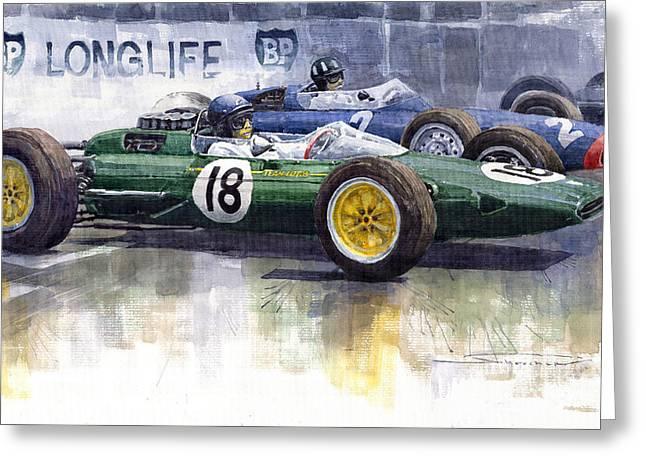 French Gp 1963 Start Lotus Vs Brm Greeting Card by Yuriy  Shevchuk